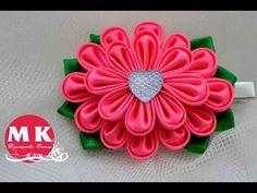 Мастер-класс Канзаши.Цветы из лент.Заколка для волос.Цветок Канзаши/Hairpin.Kanzashi Flower. - YouTube