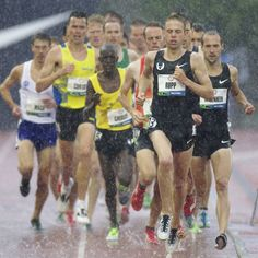 Galen Rupp leads the field in the mens 10000m run during the 2012 US Olympic Trials for Track & Field at Hayward Field in Eugene, Oregon.