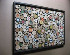 Rustic Wood Slice Art Sculpture Painted by RusticModernDesigns, $375.00 (i.e. Klimt and Chuck Close?)