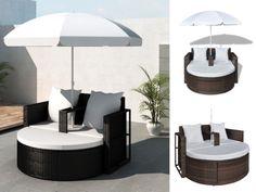Gartenlounge Poly Rattan Sonnenliege Gartenmöbel Lounge Schwarz Sonnenschirm