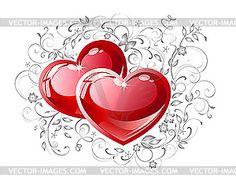 Paar rote Herzen - Vector-Clipart / Vektorgrafik