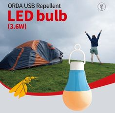 ORDA USB Bug reppelant LED BULB TYPE LIGHT 3.6 W INDOOR & OUTDOOR Color Therapy #ORDA
