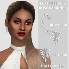 HallowSims : LeahLillith's Rose Earrings.