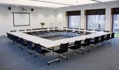 This flexible meeting room comfortably seats 150 delegates theatre style and 96 delegates cabaret style. Conference Room Design, Conference Table, Meeting Table, Meeting Rooms, Co Working, Commercial Interior Design, Room Setup, Workplace, Design Inspiration