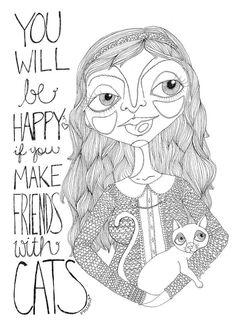 Cat Illustration Make Friends with Cats Print by JettasNest