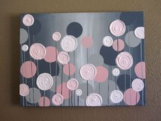 Kids Wall Art, Pink and Grey Textured Flowers, 18x24 Acrylic Painting on Canvas, Made to Order