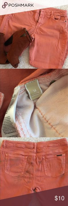 {Michael Kors} Coral Jeans Coral colored skinny jeans. Michael Kors brand - Size 14. Fairly stretchy material. Has one pink stain and some dirt on front leg and back pockets as shown in photos. Should be able to come out in wash! Michael Kors Jeans Skinny