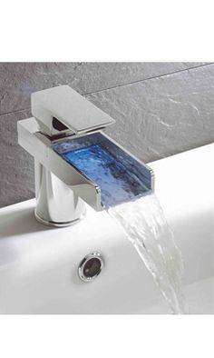 Crosswater Water Square Lights Waterfall Basin Mixer Tap With Lights