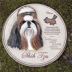 """Shih Tzu Garden Stone/Wall Decor by Outdoor Decor. $16.75. 11""""L x 11""""W x 1""""H. Includes hooks for wall hanging. A handsome addition to the garden bed or an indoor wall. """"A sweet, playful, elegant, friendly, confident companion"""". Eye-catching with a sweet, playful, and friendly spirit, this garden stone celebrates the Shih Tzu. With a detailed history, this stone explains how the breed was """"originally bred in China as much as 1000 years ago as a companion dog; considered holy a..."""