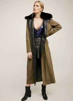 NEW Free People army green Military Sueded Nubuck Leather Fur Collar Maxi Coat M #FreePeople #MilitaryMaxiCoat
