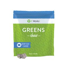 Greens Chew {BERRY BLUE FLAVOUR}  Have your snack and still feel great! Greens Chew is a soft and sweet treat meant to be enjoyed between meals. With valuable antioxidants, Greens Chew packs a powerful punch to support your overall health and well-being.  Contains valuable antioxidants Delicious berry blue flavour