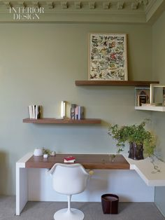 love the shelves, with a POP of color. would look great with white walls