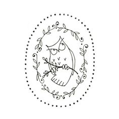 Owl Printable Embroidery Pattern Woodland by teenytinyhappythings