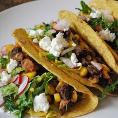 Black Bean, Corn and Goat Cheese Tacos | Gluten-Free Recipes