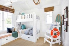 "California Beach House with Coastal Interiors - ""Coastal Bunk Room Design"" White Bunk Beds, Bunk Beds Built In, Kids Bunk Beds, Lifeguard Chair, Kids Bed Frames, Bunk Bed Rooms, Deco Marine, Coastal Bedrooms, Coastal Living"