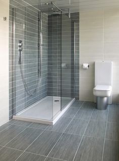 Mood Mid Grey (60x30cm) | Topps Tiles - wet room in mid grey and light grey