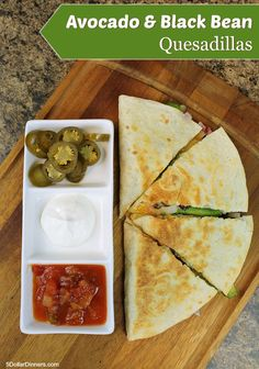 Avocado and Black Bean Quesadillas ~ new vegetarian recipe in our 31 Days of 31 Minute Dinners from 5DollarDinners.com
