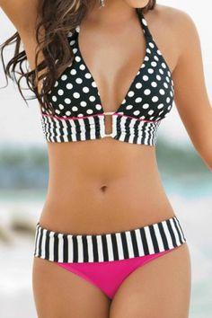 Sexy Halter Polka Dot Spliced Women's Bikini Set