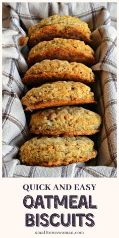 Everyone has that one oatmeal recipe that they absolutely love! Try this Oatmeal Biscuits recipe that is perfect when served with soup, omelets, or even milk! They are sweet and crispy on the outside, and chewy and soft inside. It is a tasty treat that is adult and kid-friendly! Brunch Recipes, Bread Recipes, Breakfast Recipes, Cooking Recipes, Healthy Recipes, Oven Recipes, Easy Cooking, Healthy Meals, Cooking Tips