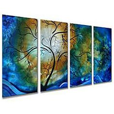 Horizontal metal wall art from Megan Duncanson. This contemporary piece is titled Deep Sky.