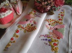 Gorgeous Vintage Shabby Chic Embroidered Crinoline Lady Tray Cloth