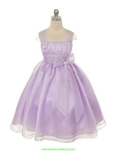 Lilac Soft Colored Crystal Organza Two Layered Girl Dress