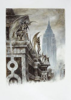 "<p><strong>Luis Royo </strong><br>   <strong><em>New Gargoyles</em></strong> – 2010 <br>   Acrylic and oil on paper - 42x70cm <br>   Book ""Malefic Time Apocalypse"" (page 23) <br>   <strong>Ref.:ROYO-26 </strong><br>   PVP : 5.800€ </p>"