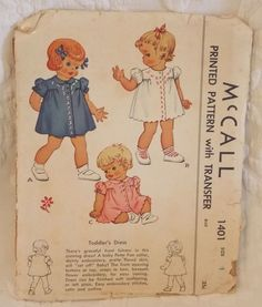 Vintage Sewing Pattern 1940s McCall #1401 Toddler Dress Girl's 1948 Size 1