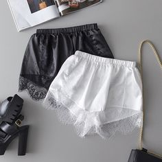 Sexy Satin Pajamas Shorts Silk Women Sleep Shorts Lace Lingerie Women Bottoms Pajama Shorts Solid Black White Color Short Source by hwongwendy shorts Lace Trim Shorts, Satin Pyjama Set, Satin Pajamas, Pyjamas, Cozy Pajamas, Sexy Lingerie, Women Lingerie, Lingerie Photos, Cozy Outfits