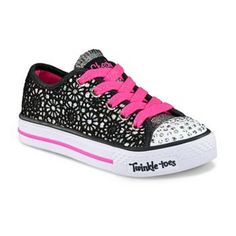 Skechers Twinkle Toes Shuffles Glitter Dayz Light-Up Sneakers - Girls Cute Girl Shoes, Girls Shoes, Light Up Sneakers, Girls Sneakers, Kids Shoe Stores, Girl Closet, Clear Bags, Childrens Shoes, Diva Fashion