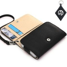 Amazon.com: Motorola DROID RAZR M Wallet - Black Clutch Carrying Cover Case with Built-In Credit Card Slots and Detachable Handstrap + NuVur ™ Keychain (ESAMWLK1): Cell Phones & Accessories