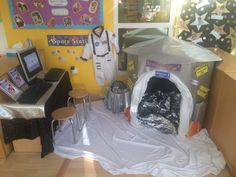 Space station space topic imaginative role play area EYFS