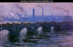 Waterloo Bridge  Overcast Weather 2 - Claude Oscar Monet - www.claudemonetgallery.org