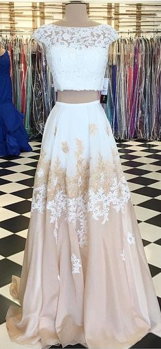 2 Piece Prom Gown,Two Piece Prom Dresses,White Evening Gowns,2 Pieces Party Dresses,Evening Gowns,Lace Formal Dress For Teens