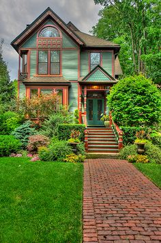 House Exterior Colors Green Architecture Ideas For 2019 This Old House, Cute House, House Paint Exterior, Exterior House Colors, Beautiful Buildings, Beautiful Homes, Victorian Architecture, Green Architecture, Paint Colors For Home