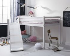 Cabin Bed Midsleeper Johan with Slide Kids Bed in White (White)