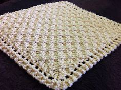 Free Knitting Pattern for Grandmothers Waffle Washcloth/Blanket - Diagonal waffle stitch created by making increases and then decreases at row ends. Designed by Rachelle Corry. - Crochet and Knit