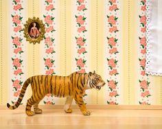 tiger art, bright yellow, animal print © 2013 jeff friesen