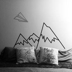Washi Tape Wall Art geometrisches gebirge | diy * washi tape mountain wall art