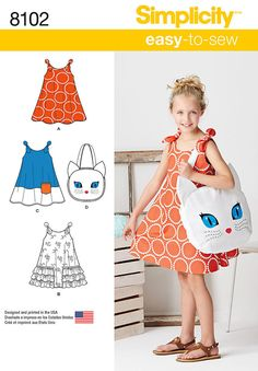 Simplicity 8102 Sewing Pattern Sew Childs Sundress and Kitty Tote Sizes 3 to 8 #Simplicity