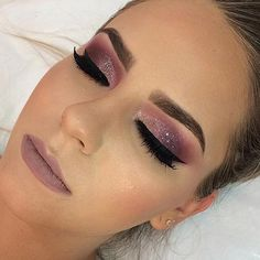 Burgundy Glitter Eye Makeup Look