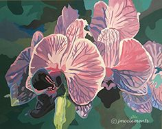 Orchids Striped Acrylic SM by Joie McClements Acrylic ~  x