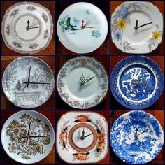 Have a chipped plate? Why not turn it into a clock? Helen Kerrigan made these. (Photo via Auckland Art  Craft Fair.) More new uses for secondhand and/or broken china can be found here.