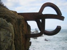 Eduardo Chillida sculptures at the end of the promenade, San Sebastian Real Box, Spanish Art, Book Sculpture, Gaudi, Urban Art, Art And Architecture, Art World, Installation Art, Three Dimensional
