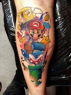 Ideas for tattoo forearm watercolor art designs Gamer Tattoos, Cartoon Tattoos, Badass Tattoos, Trendy Tattoos, Love Tattoos, Unique Tattoos, Tattoos For Guys, Tatoos, Super Mario Tattoo