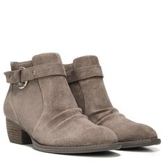 Hardware meets softwear. You'll love how this bootie has a little bit of everything you love, right down to the comfort.Relaxed finish upperWider forepart and built in stitching for a rugged lookHammered metal ring holds riveted straps apartMemory Foam Cool Fit™ insole1 and 1/4 inch leather wrapped stacked heel
