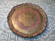 """Vintage Tray - Vintage Florentine Tray - Pink and Gold Tray - 9.5"""" Diameter Tray $35"""