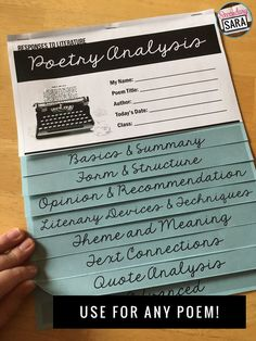 Poetry Analysis Flipbook - use with any poem and help middle/high school English classes with review, scaffolded instruction, and challenge!