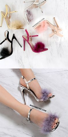 Feather Ankle Strap Skinny Heels