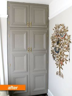 Rita wanted to update her boring, brown closet doors and, being blessed with incredible vision, she managed to make them unrecognizably wonderful